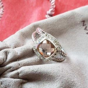 DY Sterling Silver Ring Morganite and Diamonds
